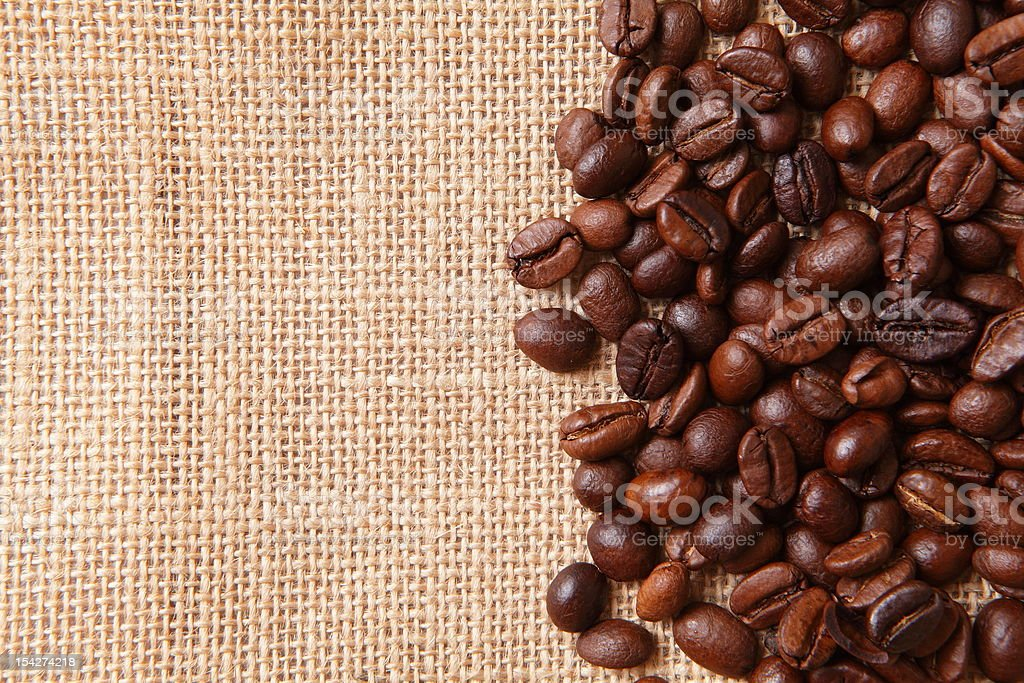 Coffee beans on linen background royalty-free stock photo