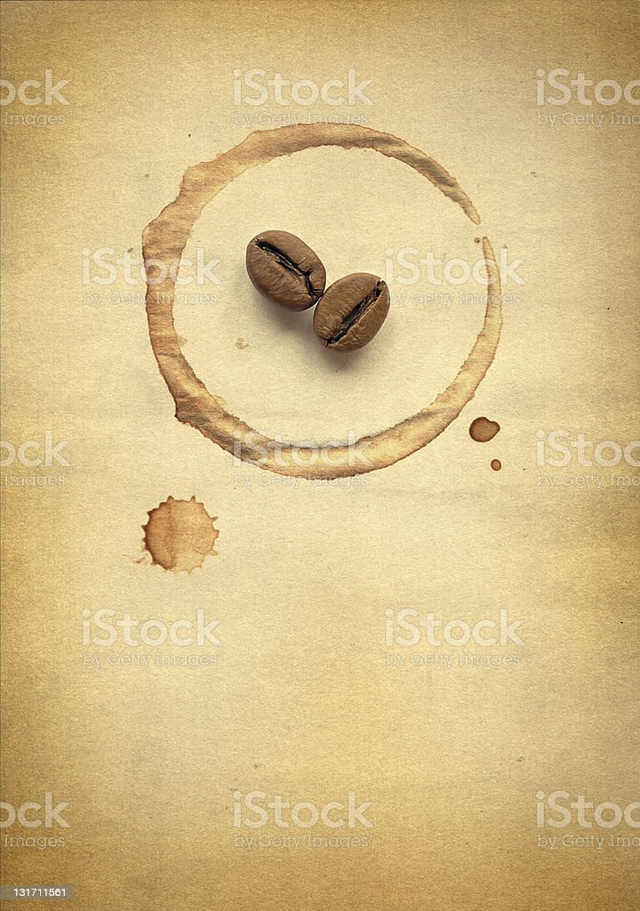 Coffee beans on paper royalty-free stock photo