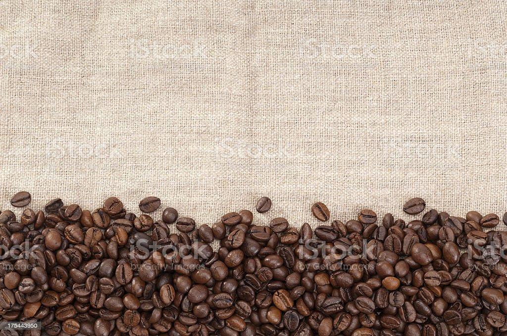 Coffee Beans on sack background stock photo