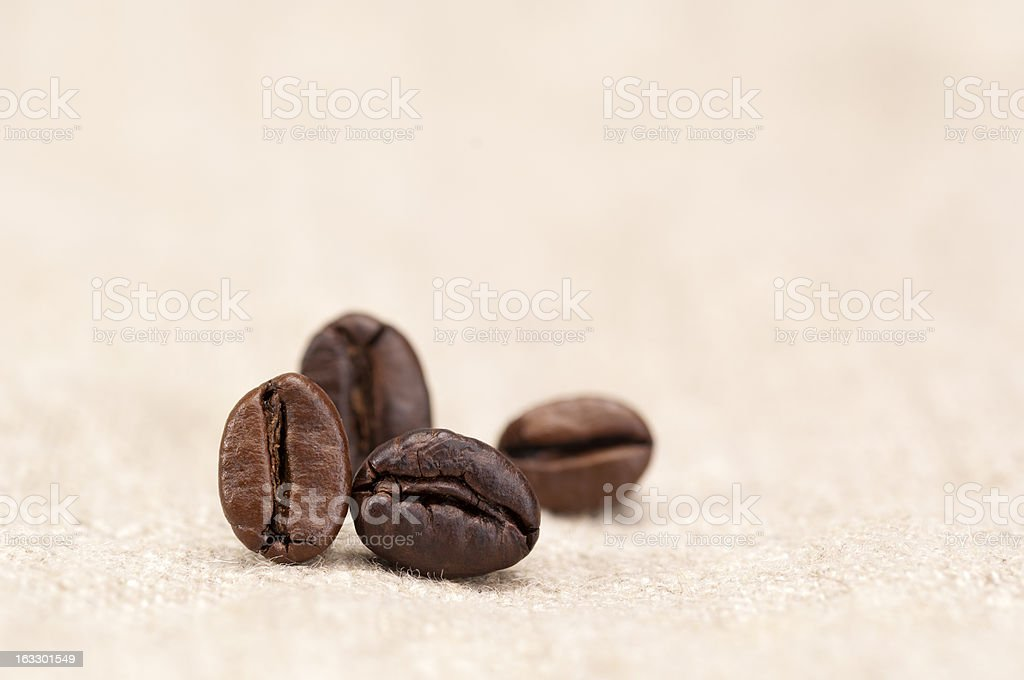 Coffee beans on sack cloth royalty-free stock photo