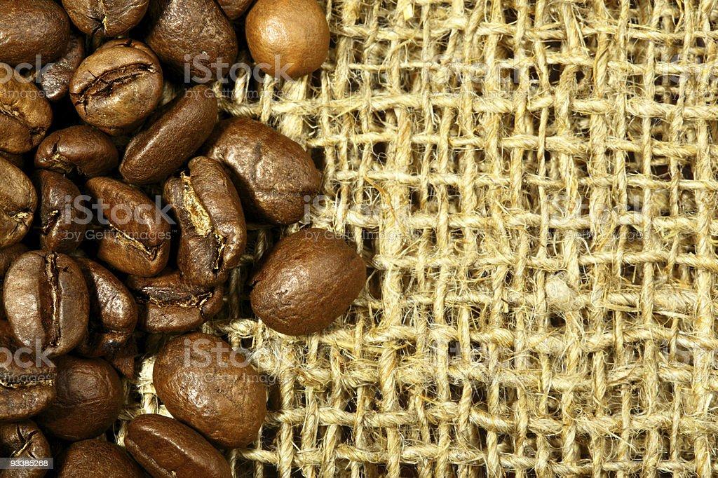 Coffee beans on sacking royalty-free stock photo