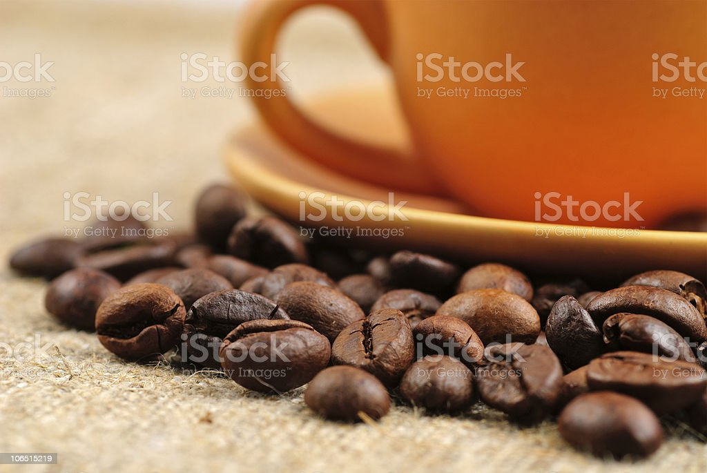 Coffee beans on the bagging royalty-free stock photo