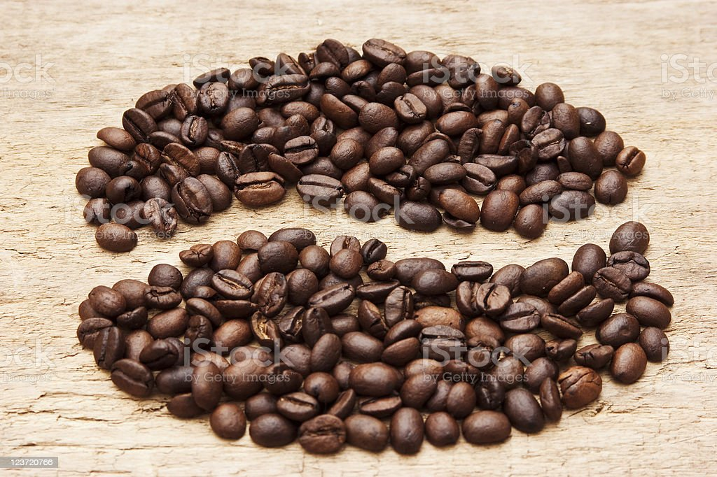 coffee beans on the board royalty-free stock photo
