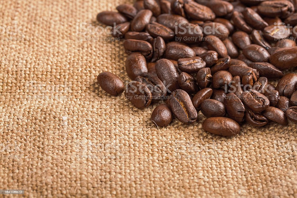 Coffee beans on the burlap royalty-free stock photo