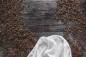 Coffee beans on the wood