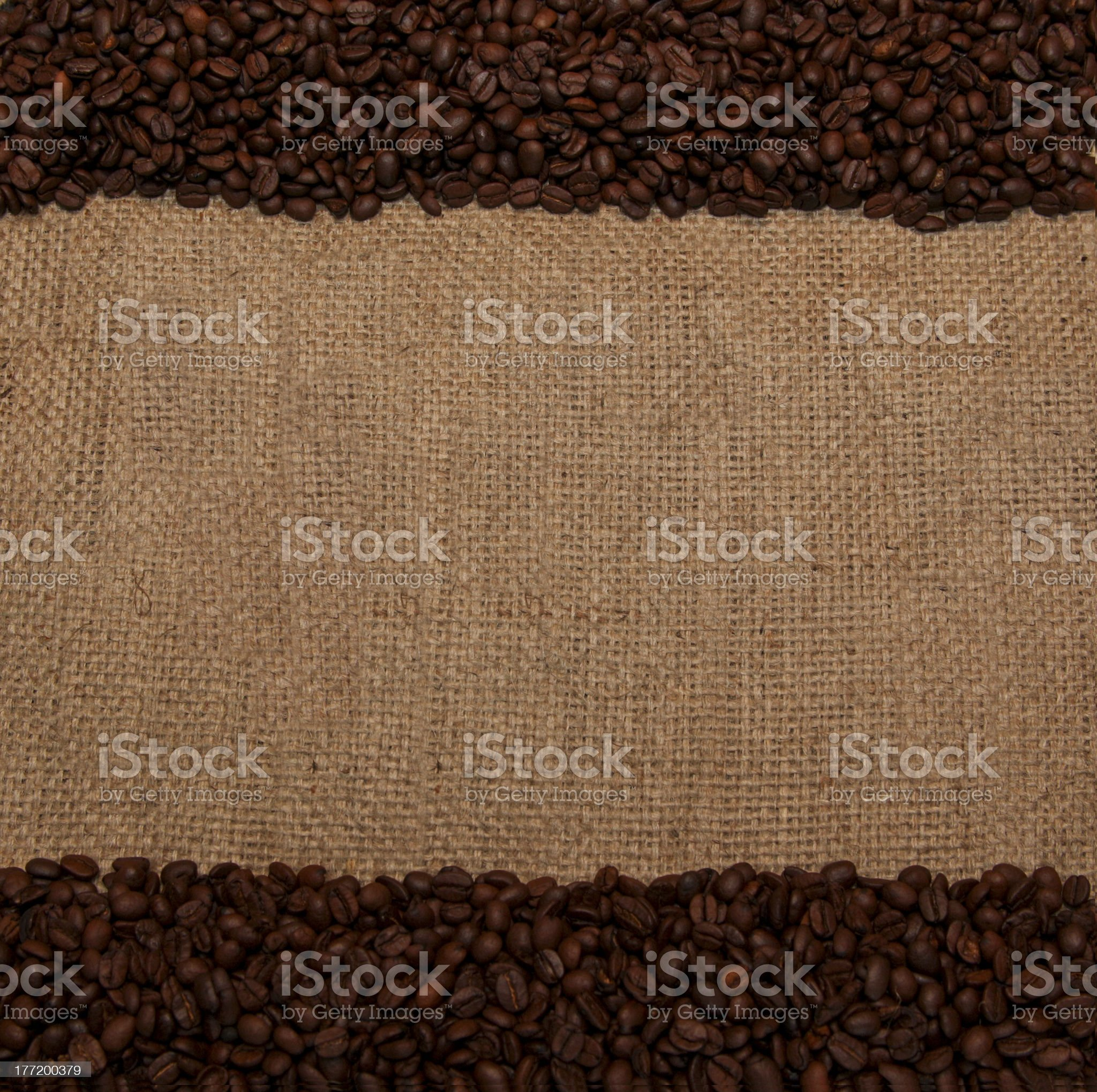 Coffee Beans on Top And Bottom of Burlap Bag royalty-free stock photo