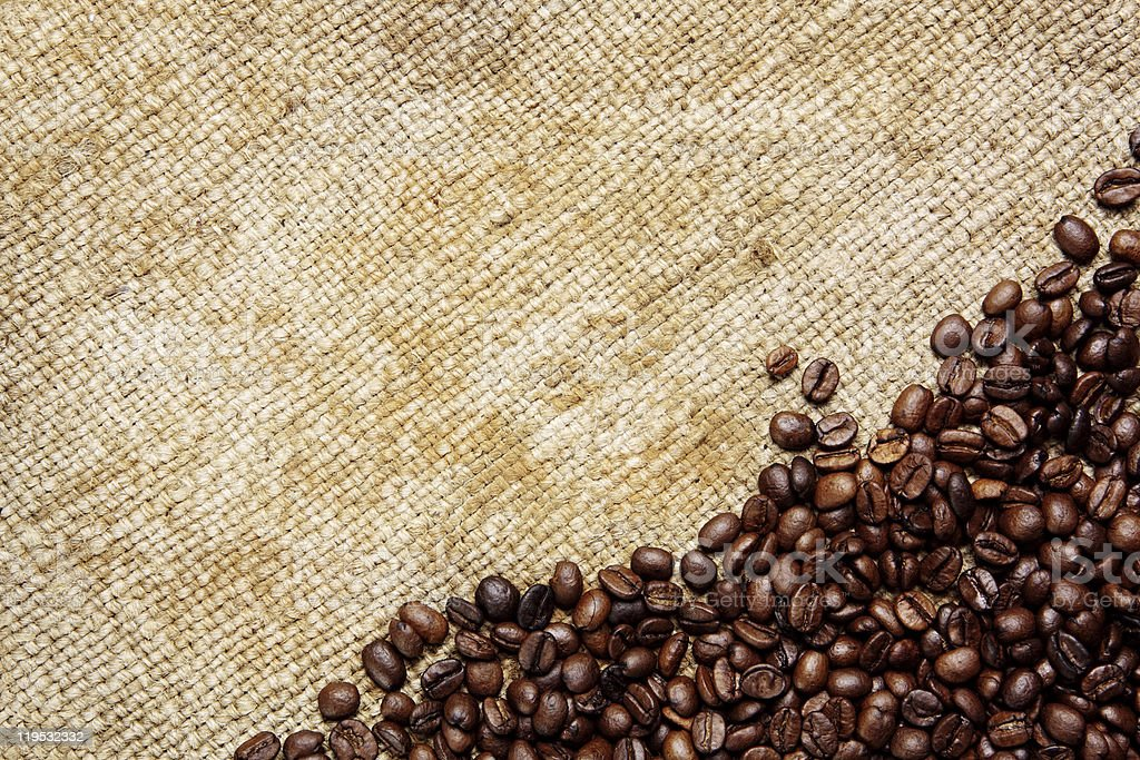 Coffee beans on traditional sack textile royalty-free stock photo
