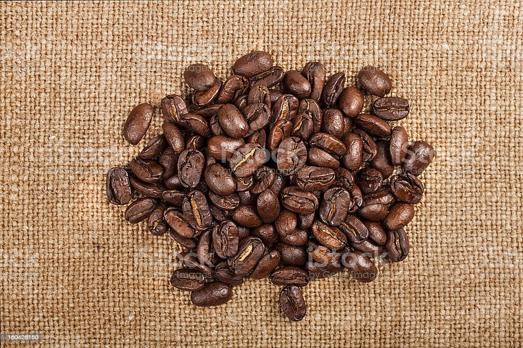 Coffee beans on vintage background royalty-free stock photo