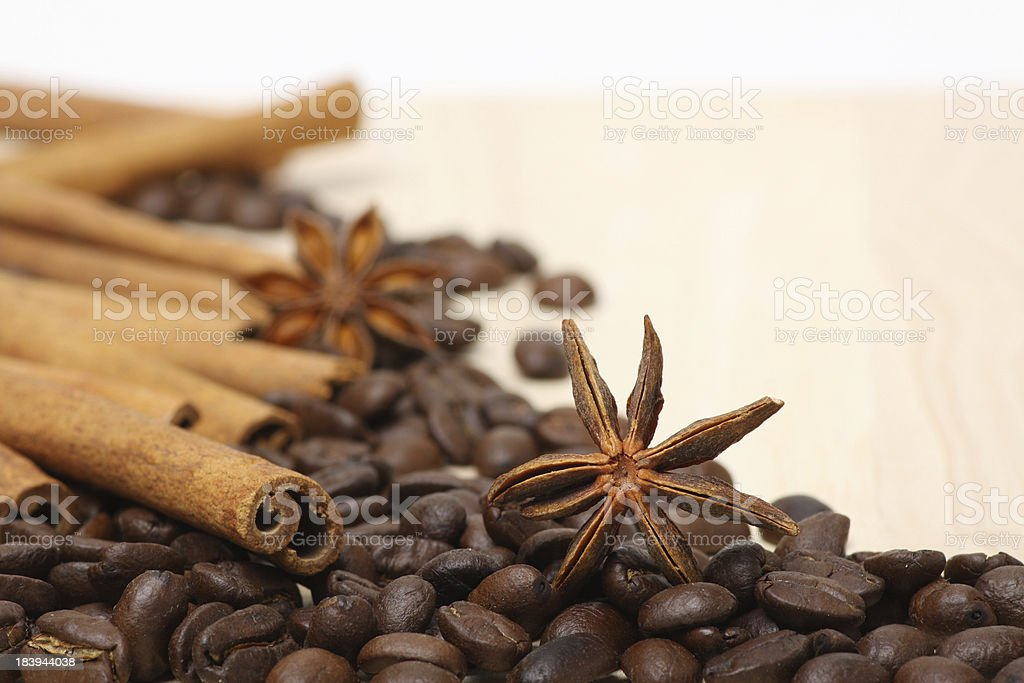 coffee beans on wooden surface royalty-free stock photo