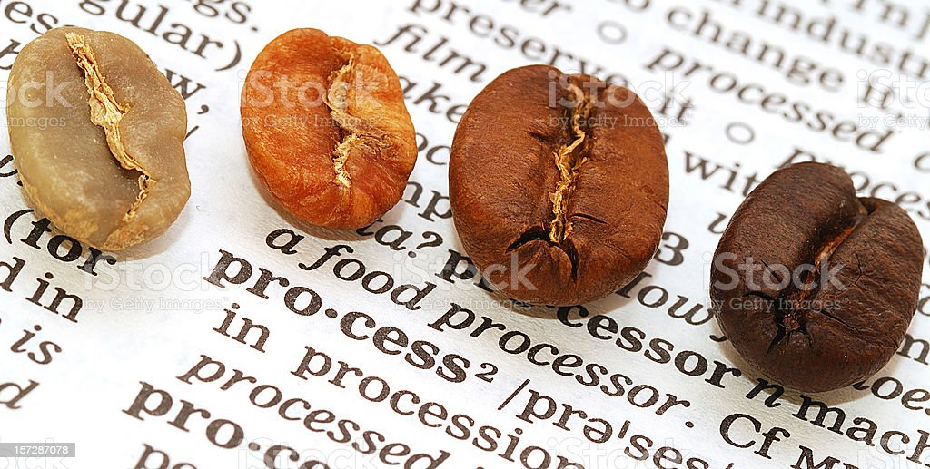 coffee beans on word process in dictionary stock photo