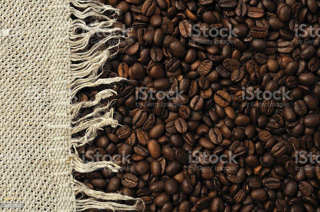 Coffee beans rag left stock photo