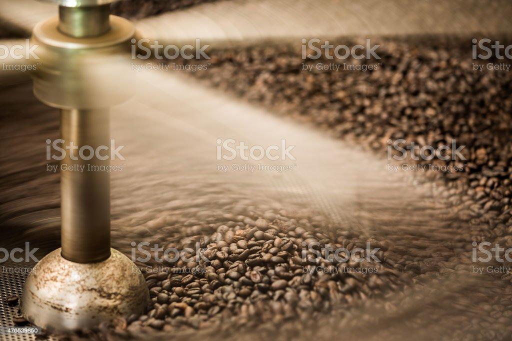 coffee beans roaster motion shot stock photo