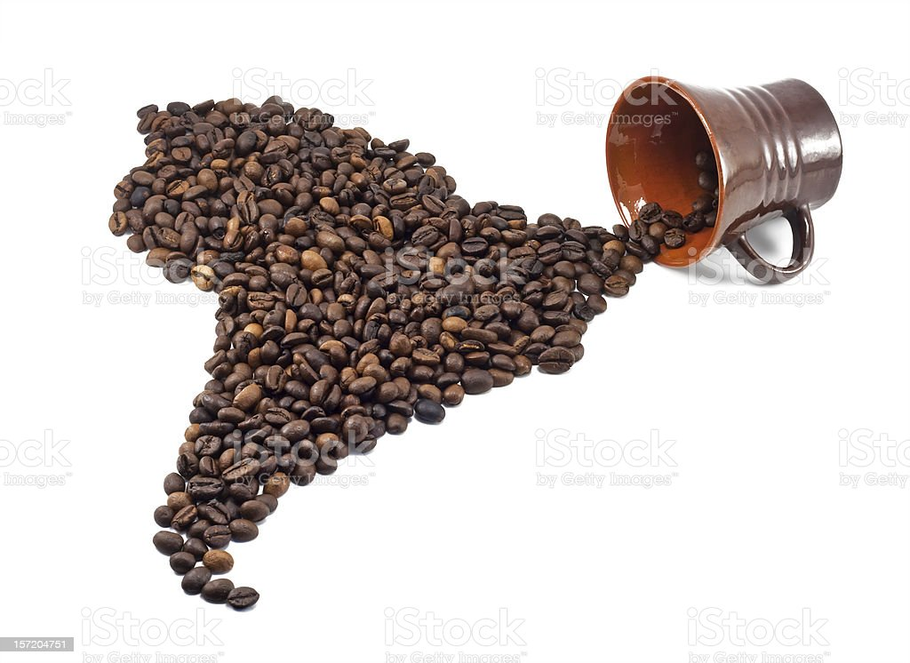 coffee beans shaped like south america royalty-free stock photo