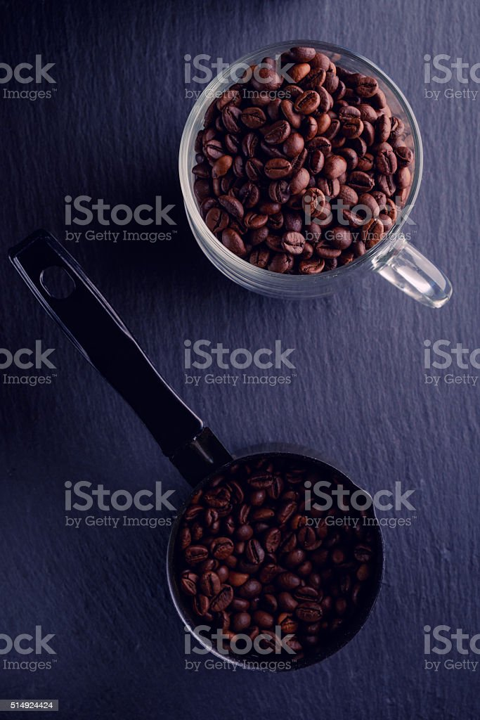 coffee beans slate stock photo