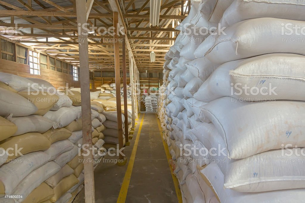 Coffee beans warehouse stock photo