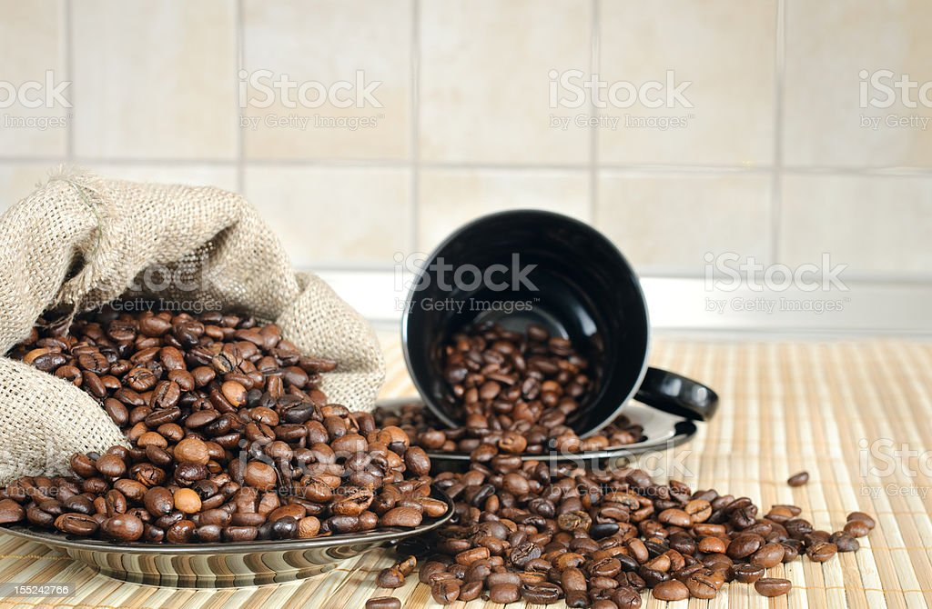 coffee beans with a cup and sack royalty-free stock photo