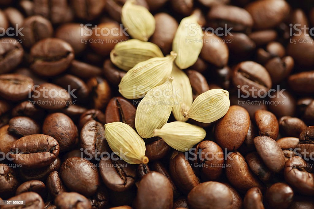 coffee beans with cardamom royalty-free stock photo