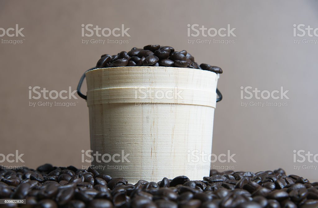 Coffee beans with casks stock photo