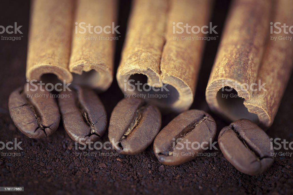 Coffee beans with cinnamon royalty-free stock photo