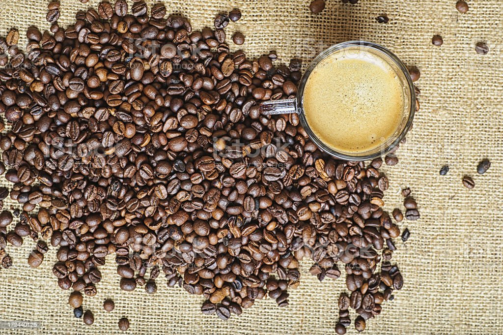 Coffee Beans with Cup royalty-free stock photo