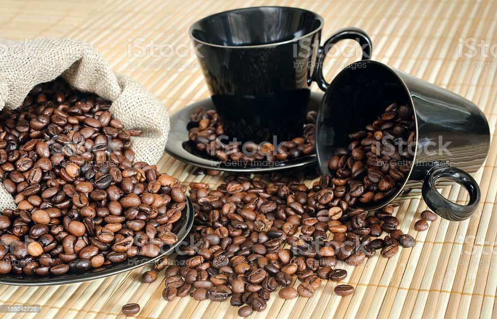 coffee beans with cups and sack royalty-free stock photo