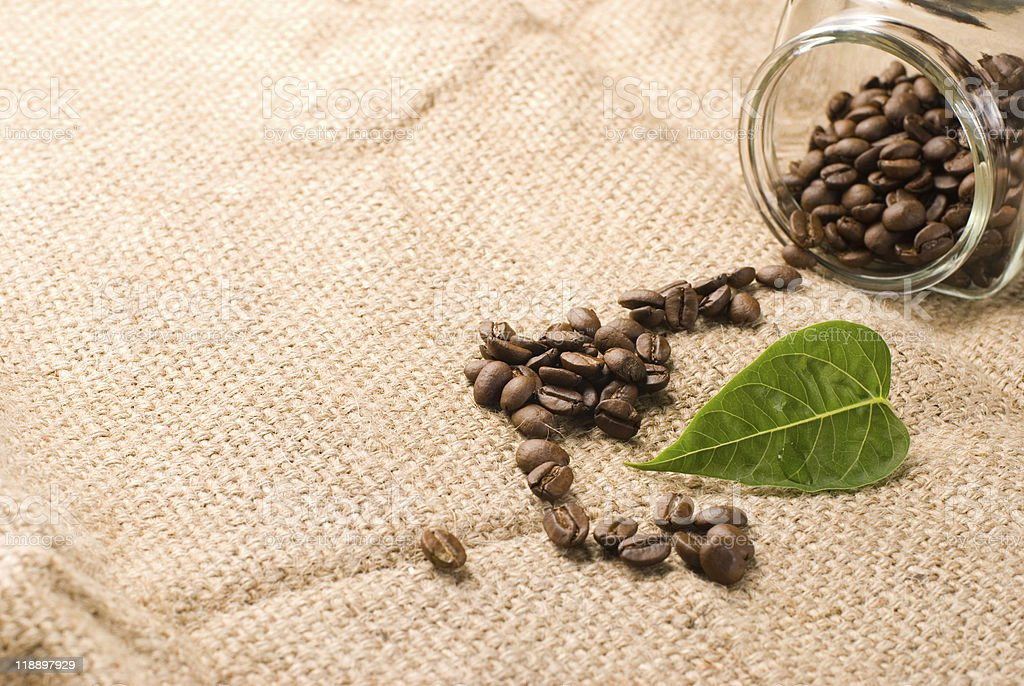 Coffee beans with green leaf on brown burlap royalty-free stock photo