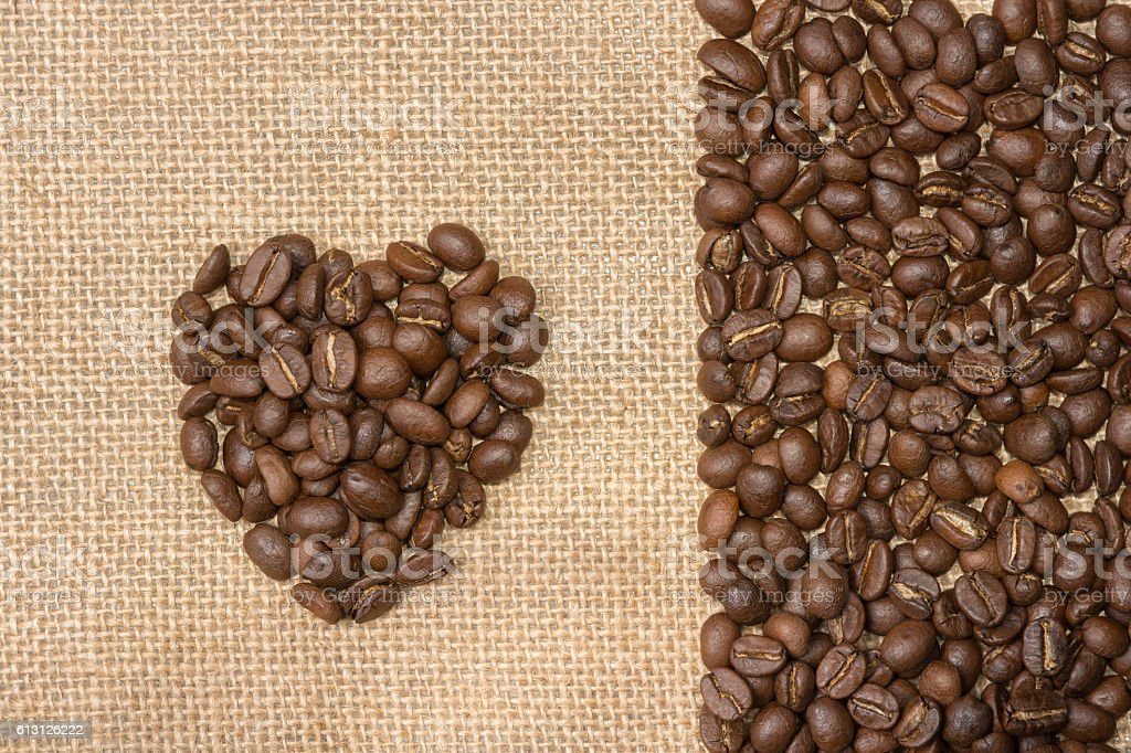 Coffee beans with heart shape stock photo