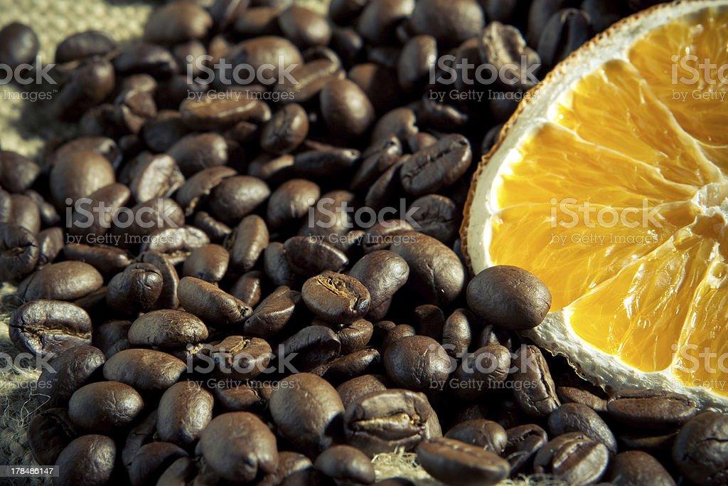 Coffee beans with orange royalty-free stock photo