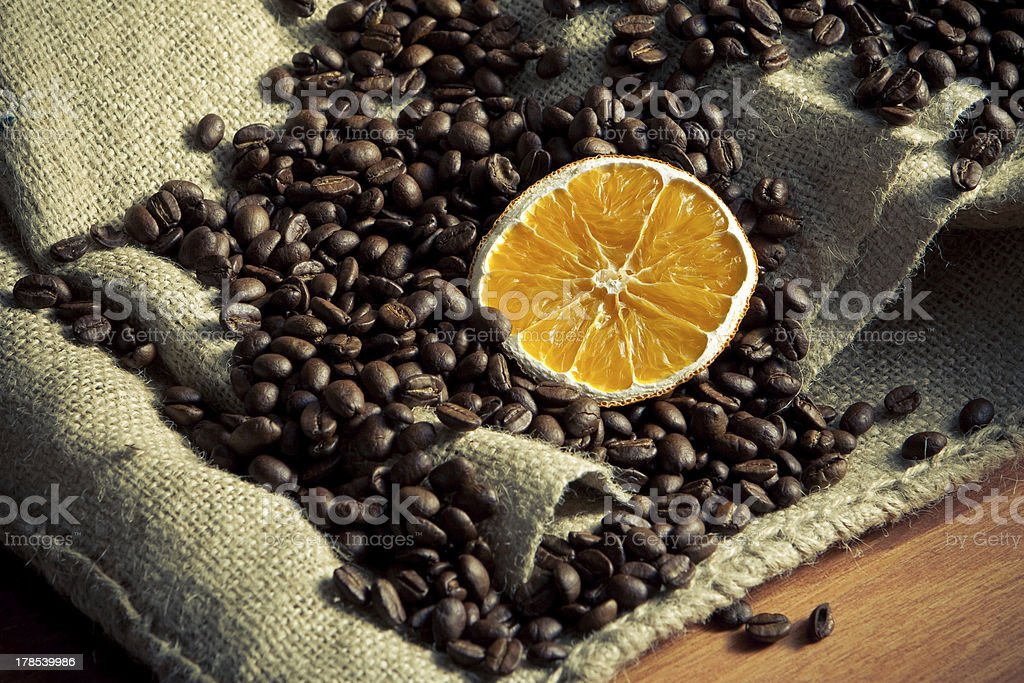 Coffee beans with orange royalty-free stock photo