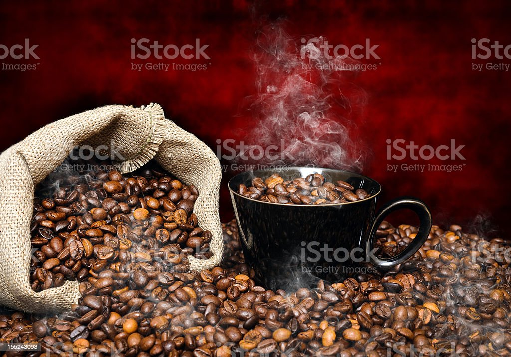 coffee beans with smoke royalty-free stock photo