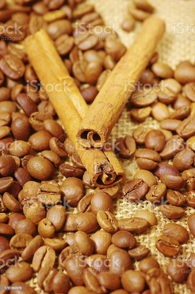 coffee beens with cinnamon stick stock photo