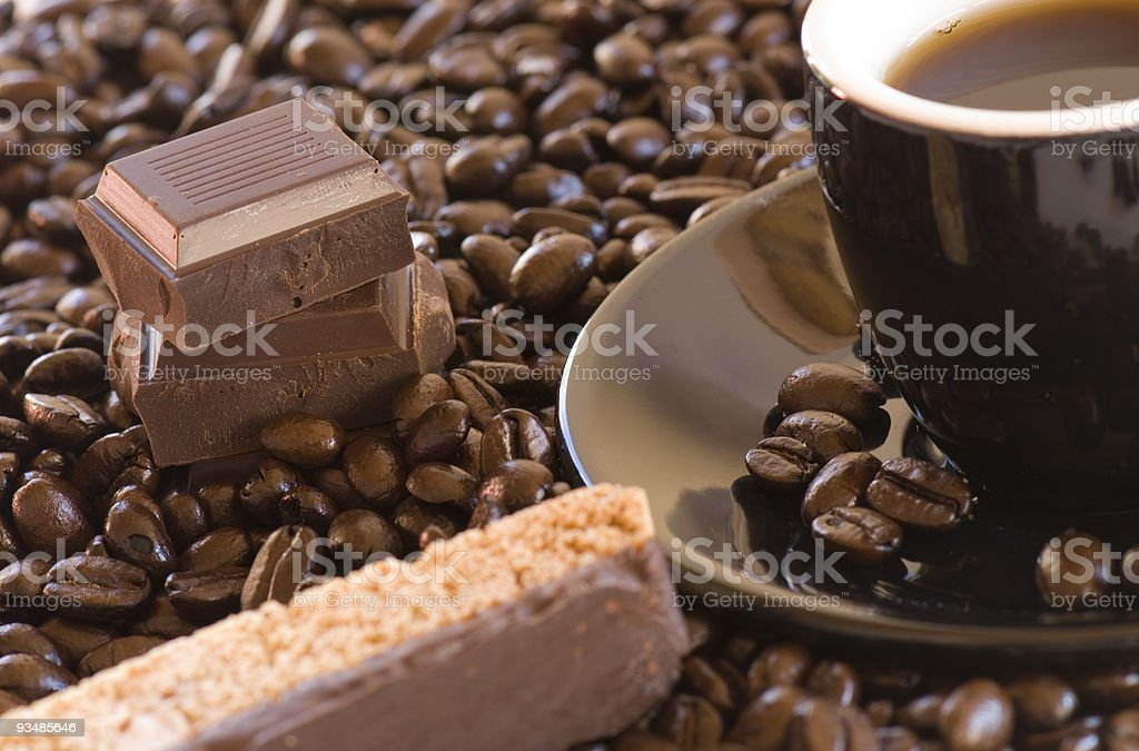 Coffee, biscotti, and chocolate royalty-free stock photo