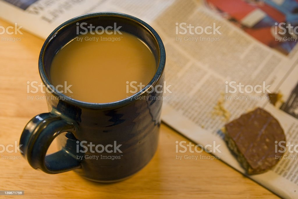 Coffee, biscuit & newspaper. royalty-free stock photo