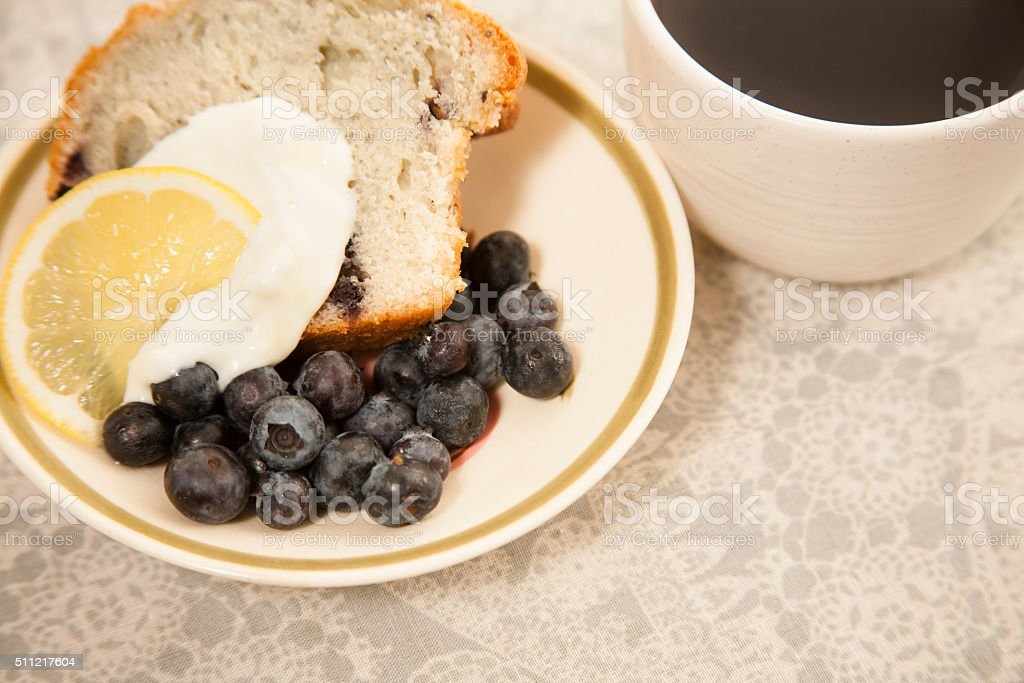 Coffee, blueberry muffins for breakfast. stock photo