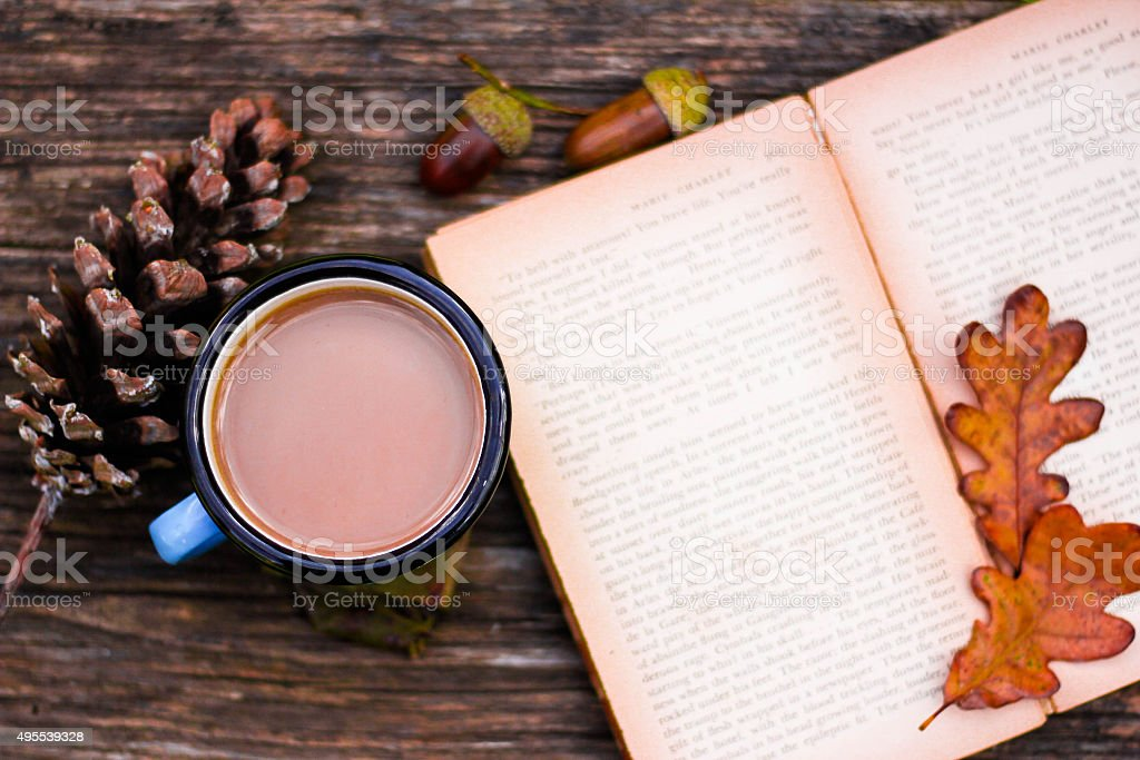 Coffee, Book And Autumn Leaves stock photo
