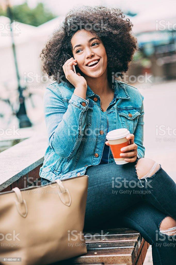 Coffee break and communication stock photo