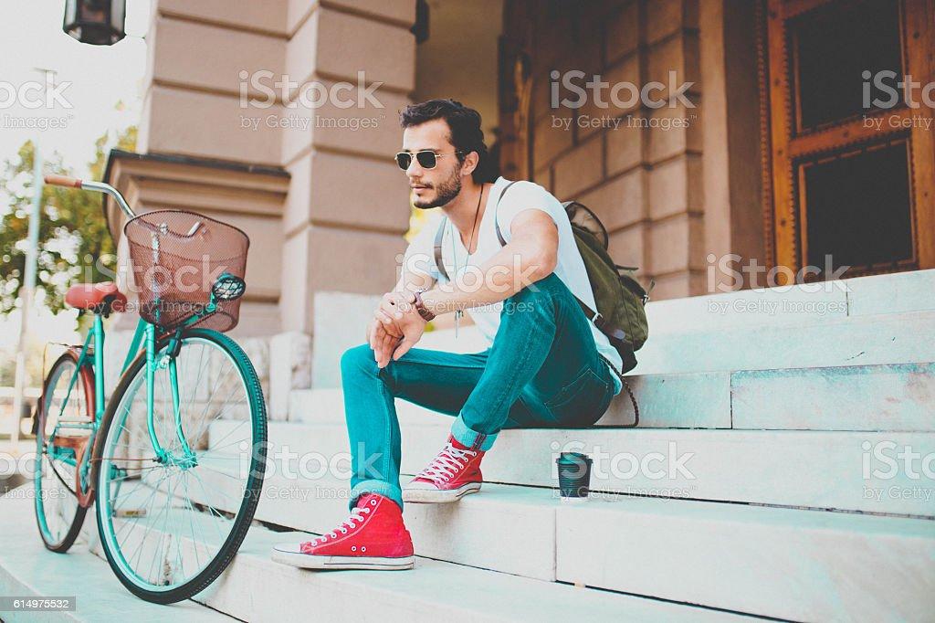 Coffee break and thinking stock photo