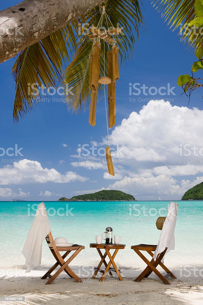 coffee break at a perfect Caribbean beach royalty-free stock photo