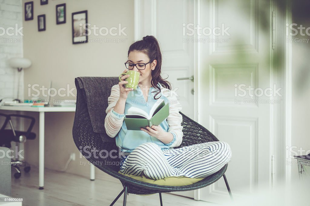 Coffee break at home stock photo