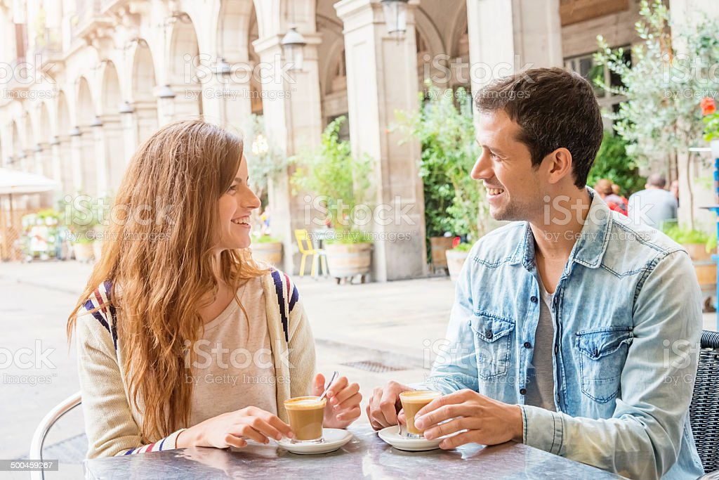 Coffee Break at Placa Reial in Barcelona stock photo