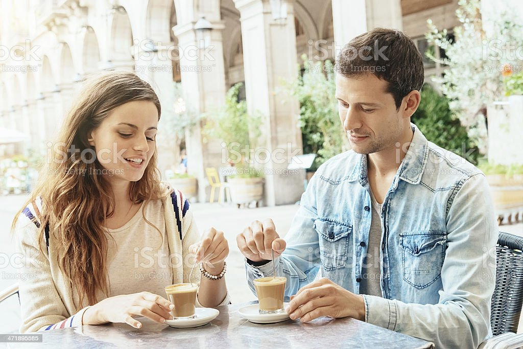 Coffee Break at Placa Reial,Barcelona Spain stock photo