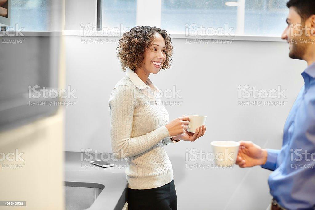 coffee break at work stock photo
