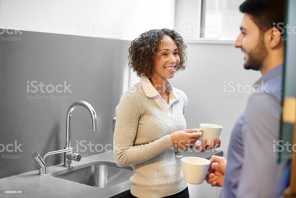 coffee break at work stock photo