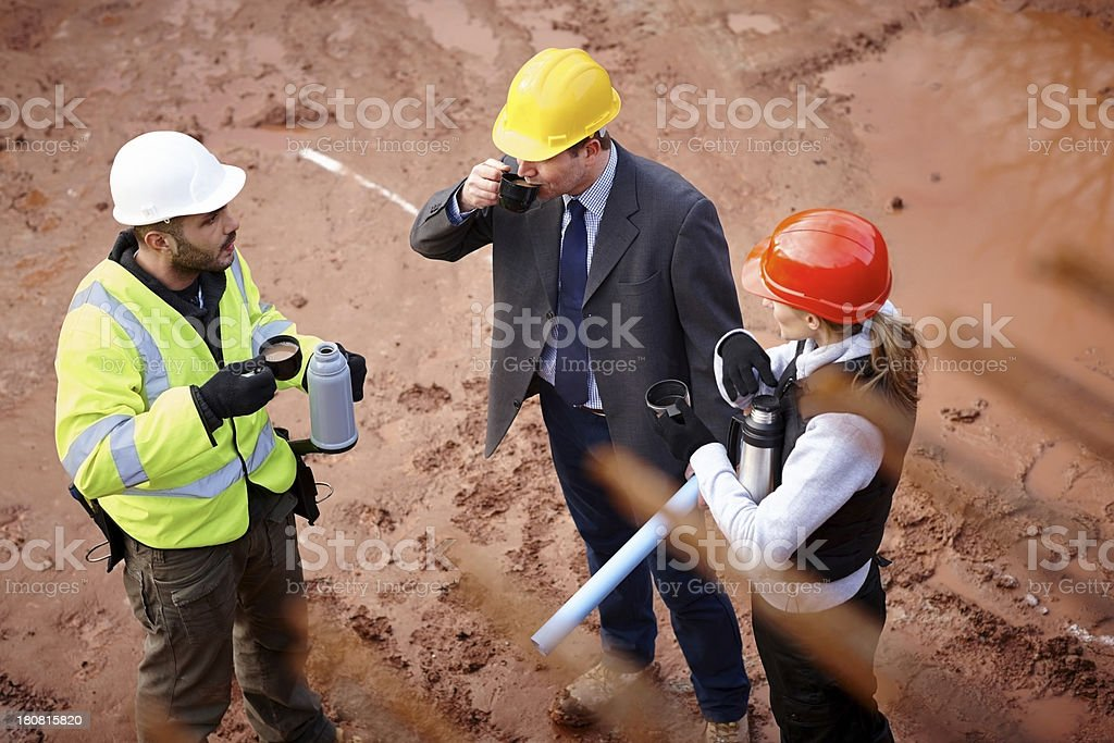 Coffee break at work site royalty-free stock photo