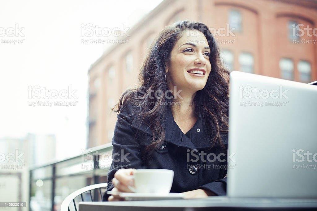 Coffee Break Business Woman Outdoors stock photo