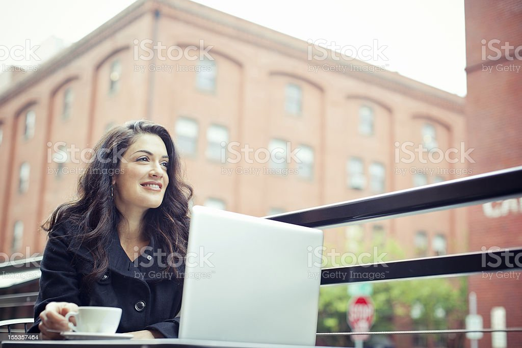 Coffee Break Business Woman Outdoors royalty-free stock photo