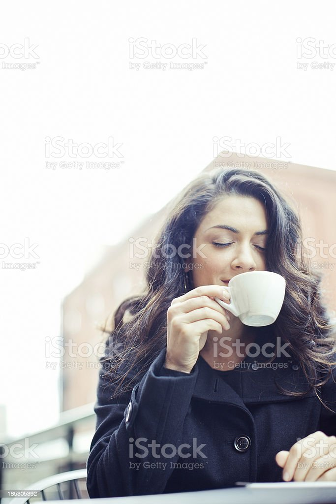 Coffee Break Business Woman Smelling Her Espresso royalty-free stock photo