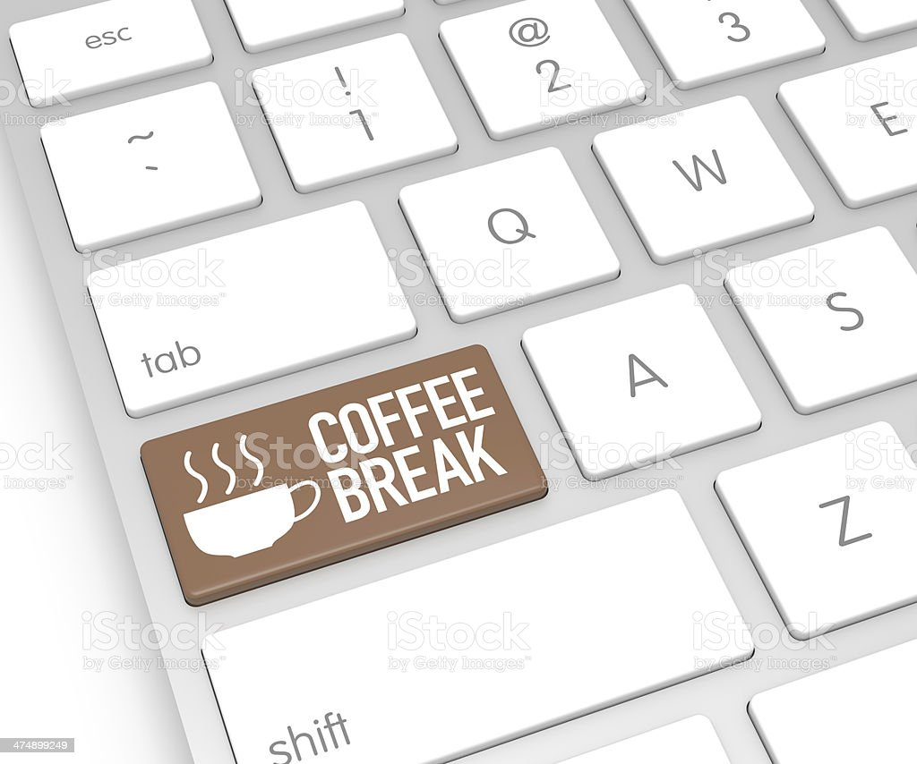 Coffee Break Computer Key stock photo