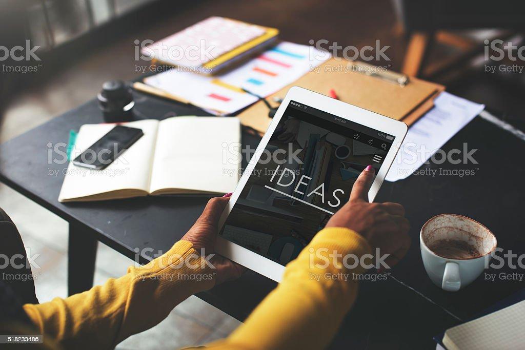 Coffee Break Ideas Creative Webpage Concept stock photo