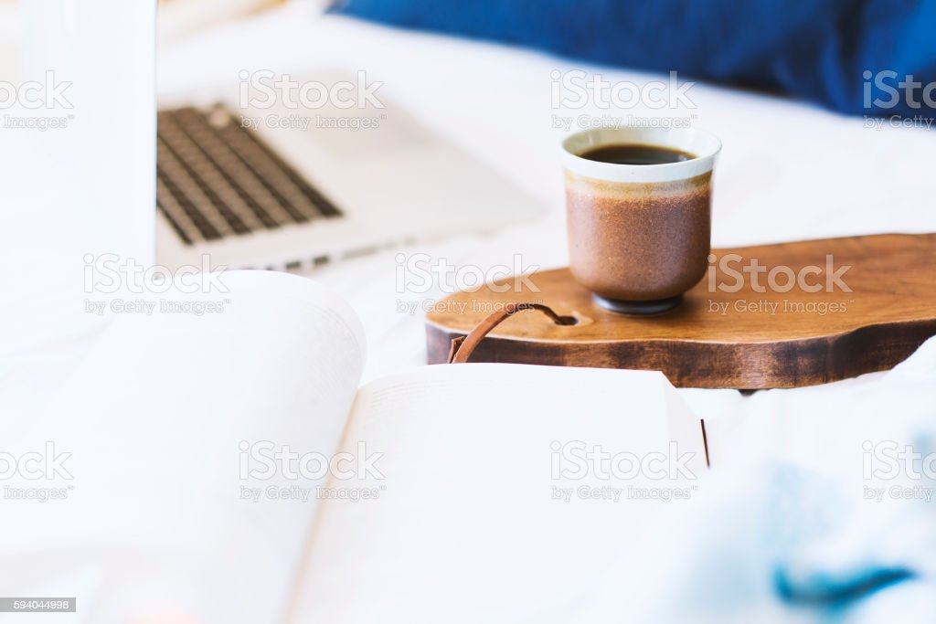 Coffee break in bed stock photo